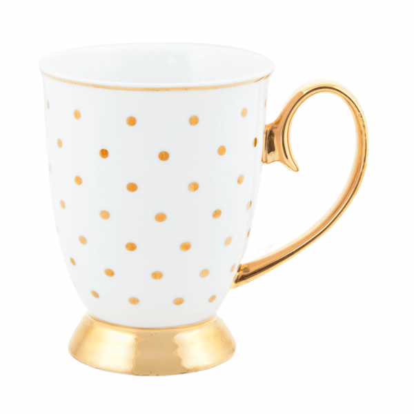 White pokadot mug