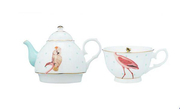 Flamingo and cockatoo teapot 1