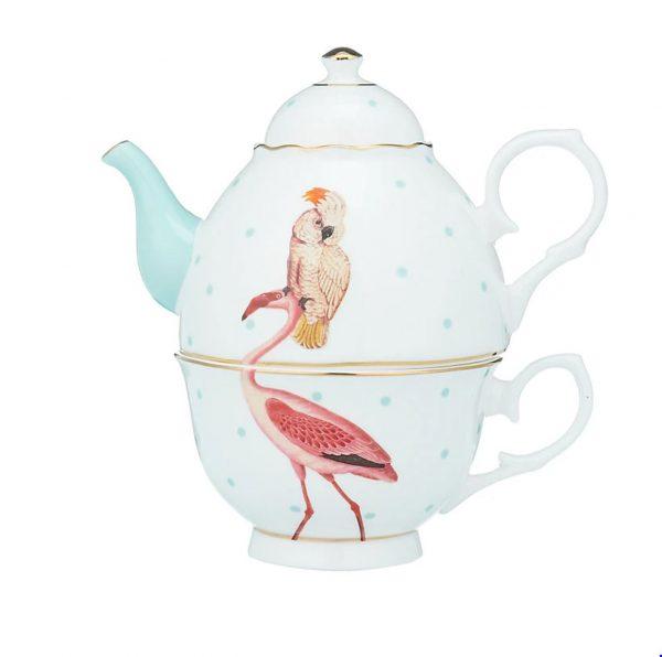 Flamingo and cockatoo teapot